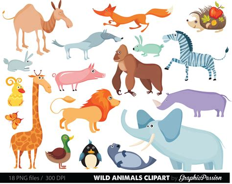 animali clipart jungle animals baby digital clipart safari animals clip