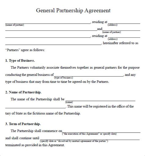 business contract template for partnership business partnership agreement 9 documents in pdf word