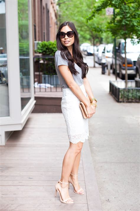 day to white lace pencil skirt and grey shirt