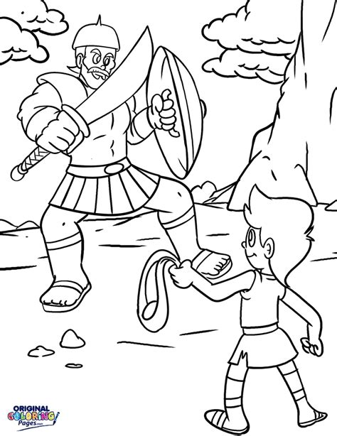 David And Goliath Coloring Page Free Printable Coloring Bible David Color Photos