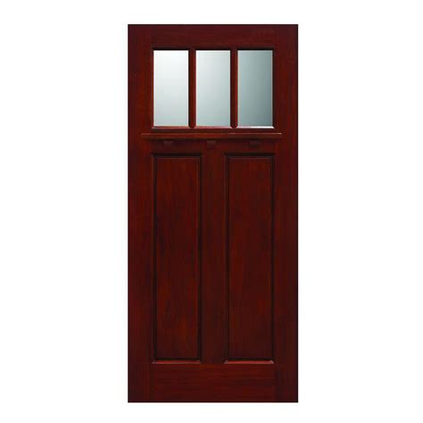 Solid Wood Exterior Door Slab Door 36 In X 80 In Craftsman Collection 3 Lite Prefinished Cherry Solid Mahogany Type