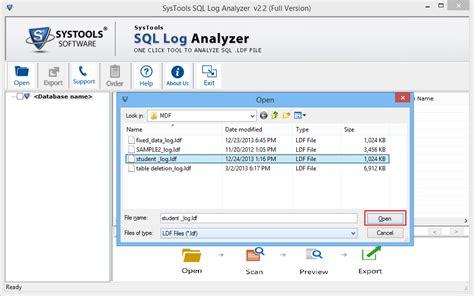 log file reader windows sql log analyzer open view sql server transaction ldf file