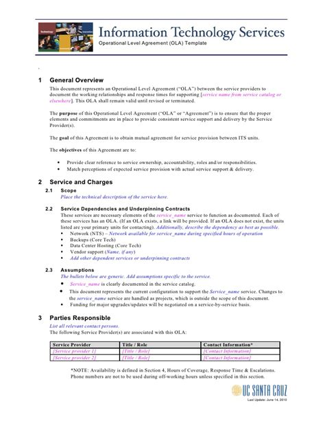 ola operational level agreement template ola template