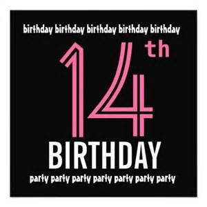 14th birthday party invitation template pink black 5 25 quot square