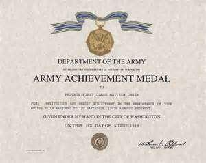 army achievement medal replacement certificate