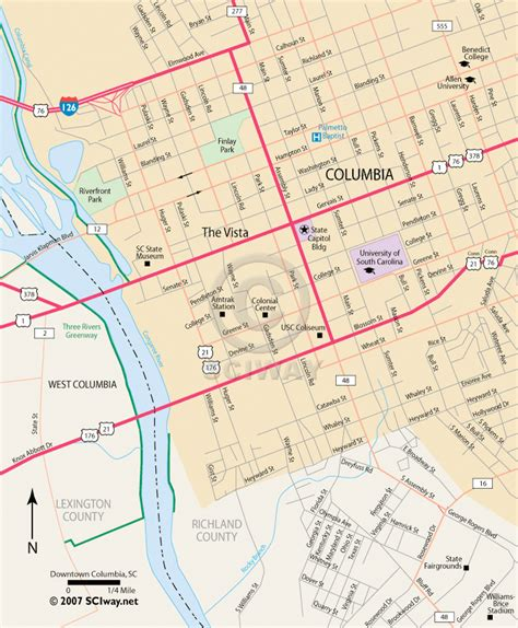 columbia sc downtown columbia south carolina free map