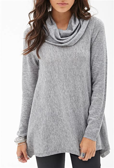 how to knit sweater neck forever 21 cowl neck knit sweater in gray grey