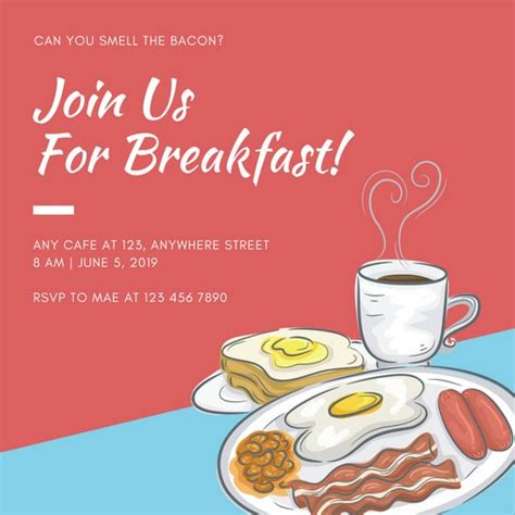 Red Simple Breakfast Invitation Templates By Canva Breakfast Invitation Template Free