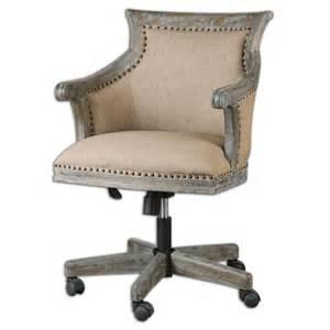 Beige linen rolling chair exposed wood industrial desk office