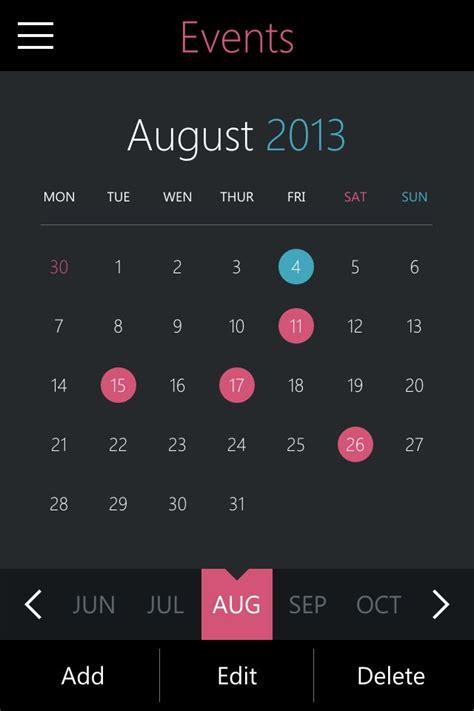 calendar design for mac event planner metro style ui design for apple iphone ios
