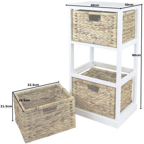 Bathroom Storage Units With Baskets Hartleys White 3 Basket Chest Home Storage Unit Wicker Drawers Cabinet Bathroom