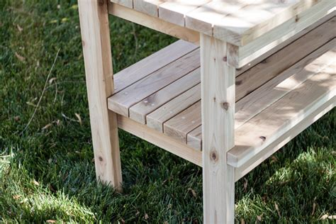 free potting bench plans cedar potting bench by tesla77 lumberjocks com