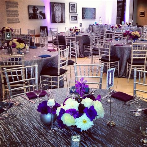 silver purple and teal wedding reception decor