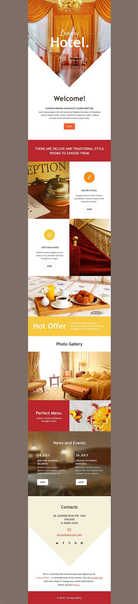 hotel newsletter layout hotels responsive newsletter template 54740