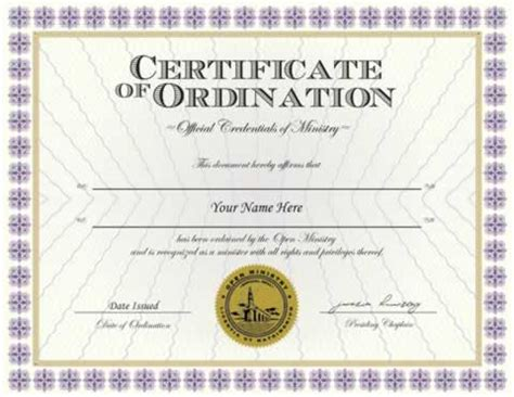 credentials :: ordination credential minister ordainment