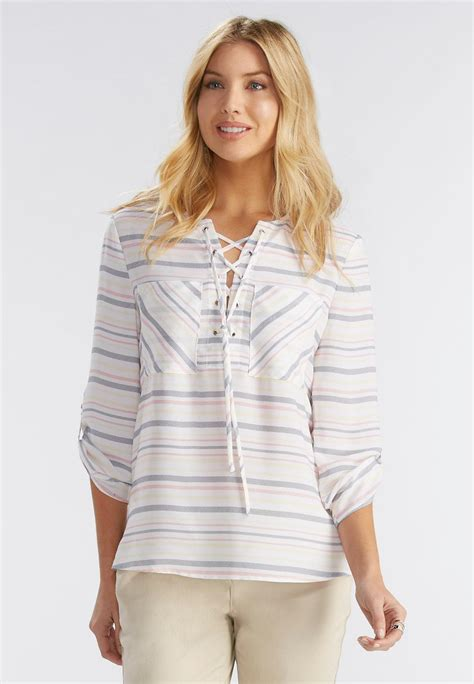 Neckline Top Stripes notch striped lace up neck top shirts blouses cato fashions