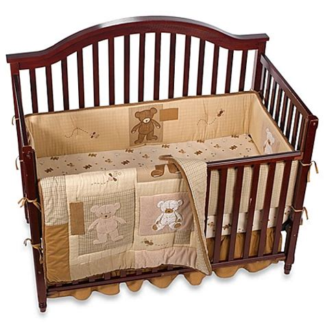 Cotton Crib Bedding Teddy 4 100 Cotton Crib Bedding Ensemble Bed Bath Beyond