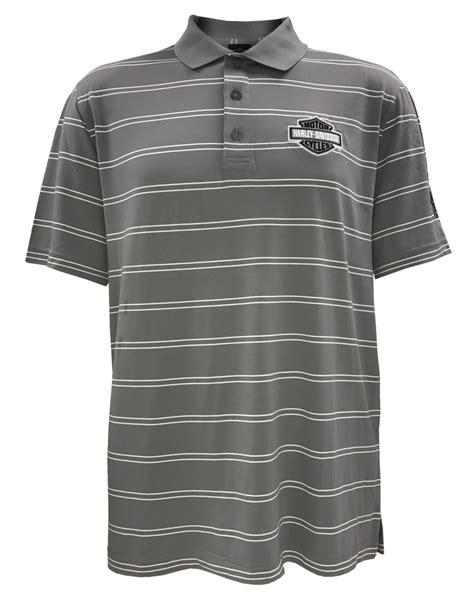 Polo Shirt Logo Harley Dvs 1 harley davidson s performance striped sleeve polo gray h013 hd32 ebay