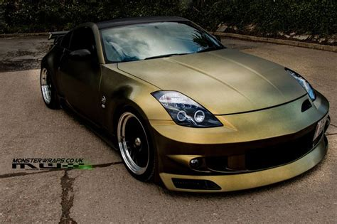 gold nissan car nissan 350z brushed gold and black wrap pic from sean