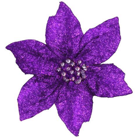 christmas purple large 20cm poinsettia glitter flower clip