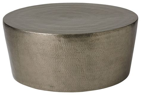 Hammered Metal Coffee Table Izmir Hammered Cocktail Table Antique Nickel Large Transitional Coffee Tables By