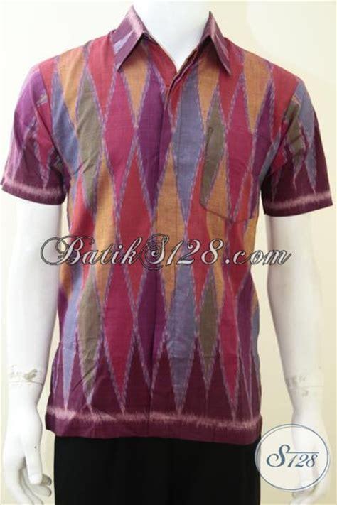 Kemeja Tenun Pendek D baju tenun ikat pria lengan pendek motif rangrang ukuran s