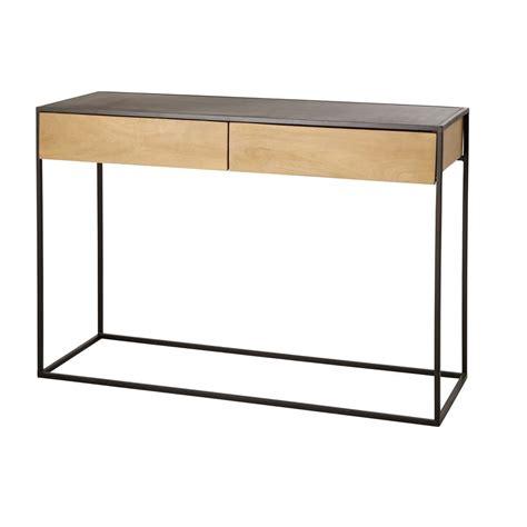 cassetti in metallo consolle a 2 cassetti in metallo nero e legno massello di