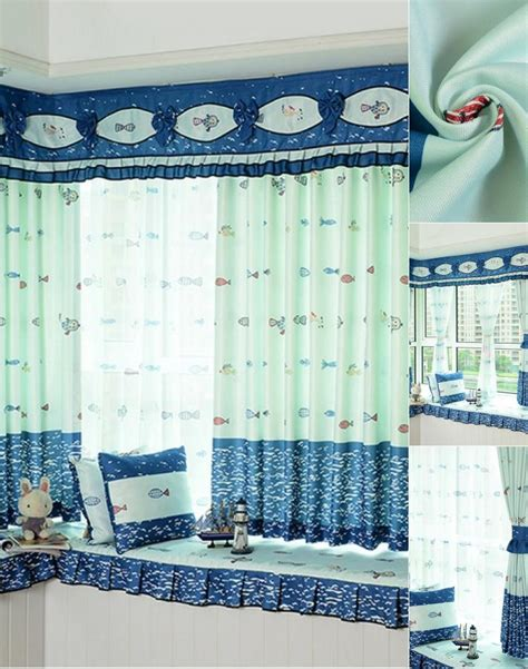 valances for boys bedroom cute and fun polyester nautical fish pattern curtain for