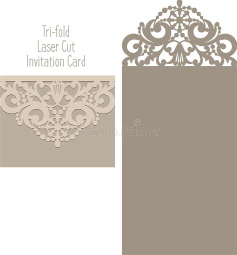 Laser Cut Envelope Template For Invitation Wedding Card Stock Vector Illustration Of Decor Laser Cut L Template