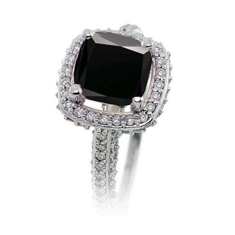 1 5 carat cushion cut designer black and