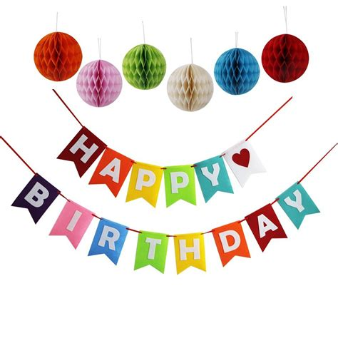 happy birthday decoration happy birthday decorations banner with set of 6 tissue pom