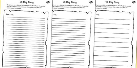 Diary Entry Template For