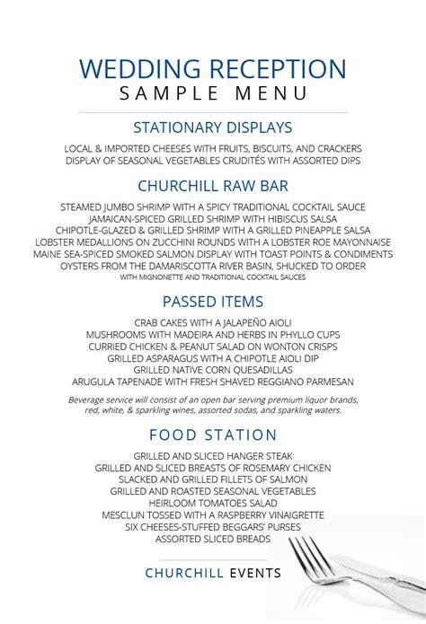 menus churchill events