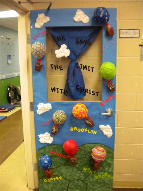 classroom themes hot air balloons classroom door decoration the sky is the limit with mrs