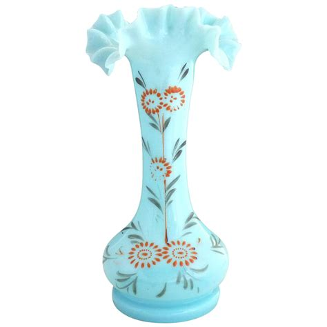 Antique Glass Vase Identification by Antique Opaque Blue Glass Vase Enameled