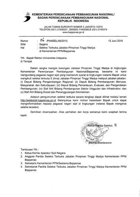 format surat pernyataan diunduh di laman pengumuman bapeten seleksi terbuka jabatan pimpinan tinggi madya unud