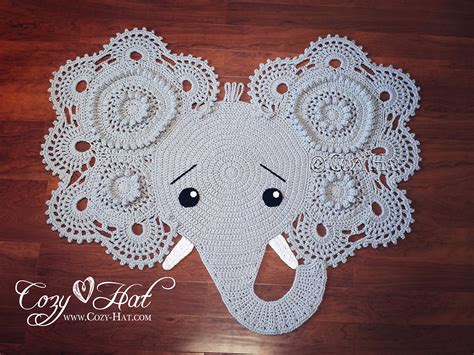elephant rug elephant rug crocheted ready to ship sale by cozyhat