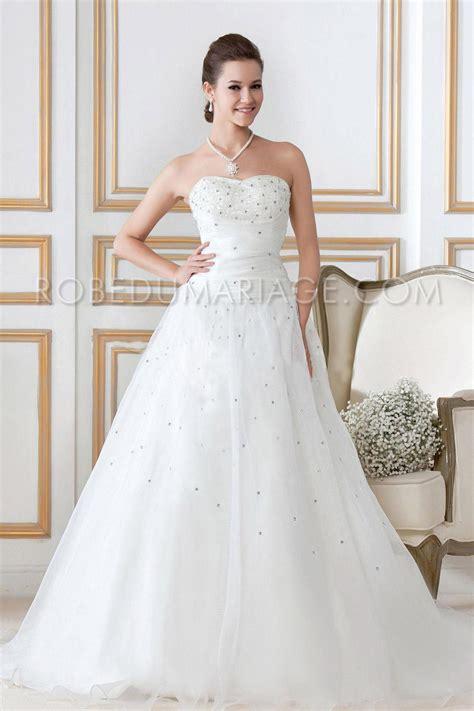 Robe De Mariée Princesse Bustier Paillette - bustier d 233 collet 233 e paillettes organza fronc 233 e robe de