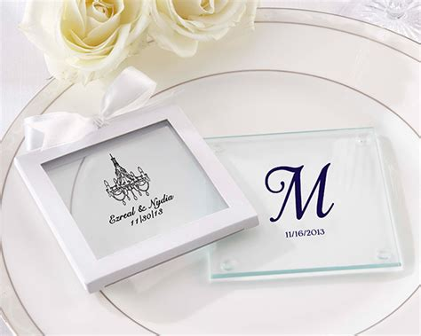 Wedding Favors Coasters by Personalized Glass Coaster Set Of 12 Wedding Favors