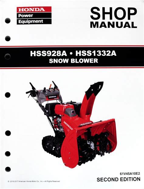 Honda Service Manual by Honda Hss928 Hss1332 Snow Throw Service Repair Shop