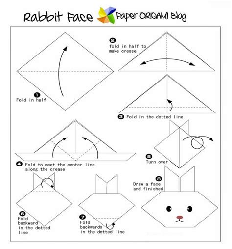 Easy Origami Bunny - animals origami rabbit paper origami guide