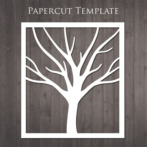easy card template for paper cutting tree papercut template diy paper cut