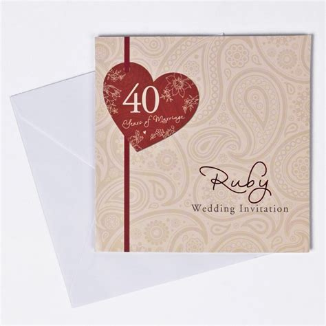 personalised wedding cards next day delivery ruby anniversary invitation cards pack of 10 only 163 1 49
