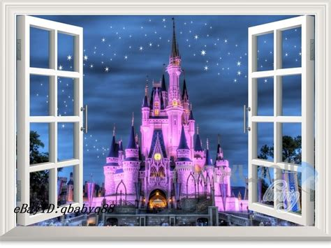 disney castle wall mural 60x80cm disney princess castle 3d window wall decals stickers decor ebay