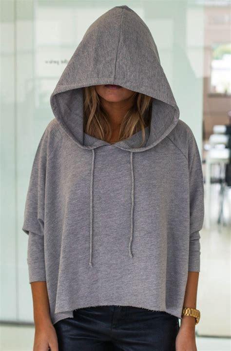 Crop Hoodie Jumper Gray Berkualitas Top Oversized Hoodie Cropped Sweater Grey Sweater