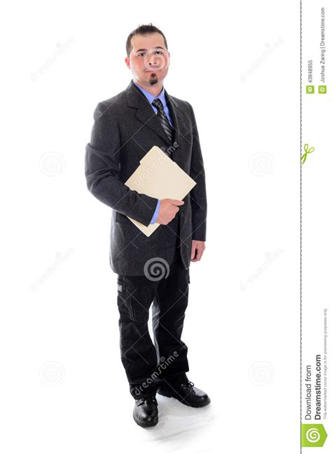 file suit man in suit holding file folder smiling stock image