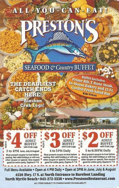 seafood buffet discount coupons deals specials save money prestons restaurant