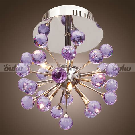 Purple Chandelier Modern Floral Shape Chandelier With 6 Lights Ceiling L Chrome Purple Ebay