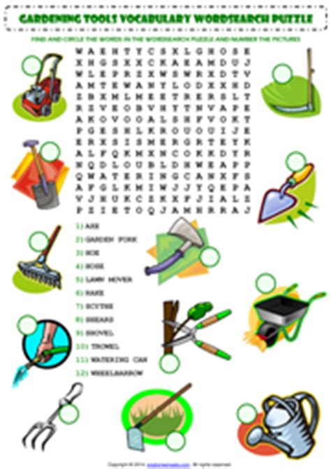 Gardening Worksheets Gardening Tools Esl Printable Worksheets And Exercises
