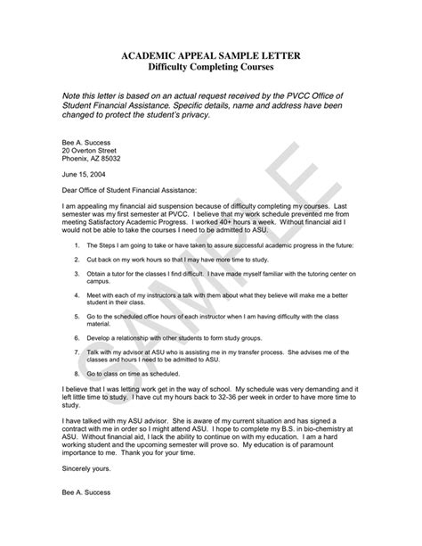 College Appeal Letter Exle academic appeal sle letter in word and pdf formats
